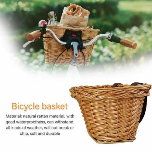 Children/'s Bicycle Front Rattan Baskets Adjustable Leather Straps Waterproofness