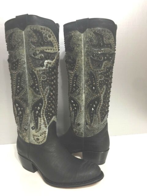 fd689bde595b Frye Deborah Deco Black Charcoal Gray Studded Tall Knee High Western Boots 6