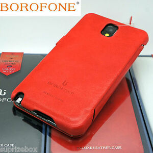 BOROFONE-General-Genuine-Real-Leather-Book-Case-For-SAMSUNG-GALAXY-NOTE-3-ORANGE