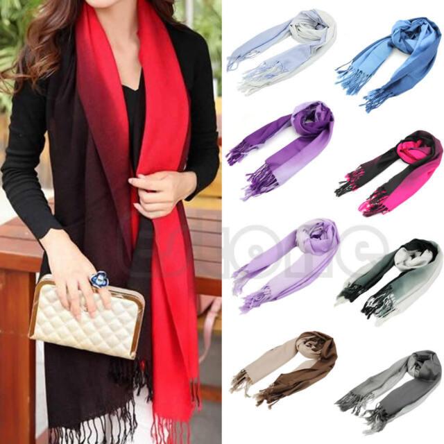 Women Gradient Cashmere Large Long Stole Pashmina Tassels Wool Shawl Scarf Wraps