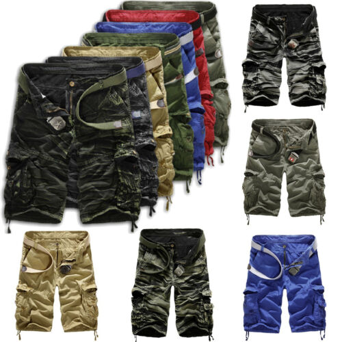 UK Stock Mens Shorts Multi-Pocket Bermuda Sport Cargo Trousers Military Combat P
