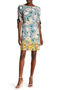 Women-039-s-Donna-Morgan-Ruched-Sleeve-Printed-T-Shirt-Dress-Dusty-Blue-Size-2