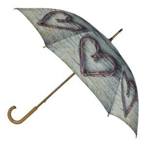 Original Regenschirm Weidenherz Regenschirme Stockschirm Herzen Holzherz Geschenkidee Regenschirme