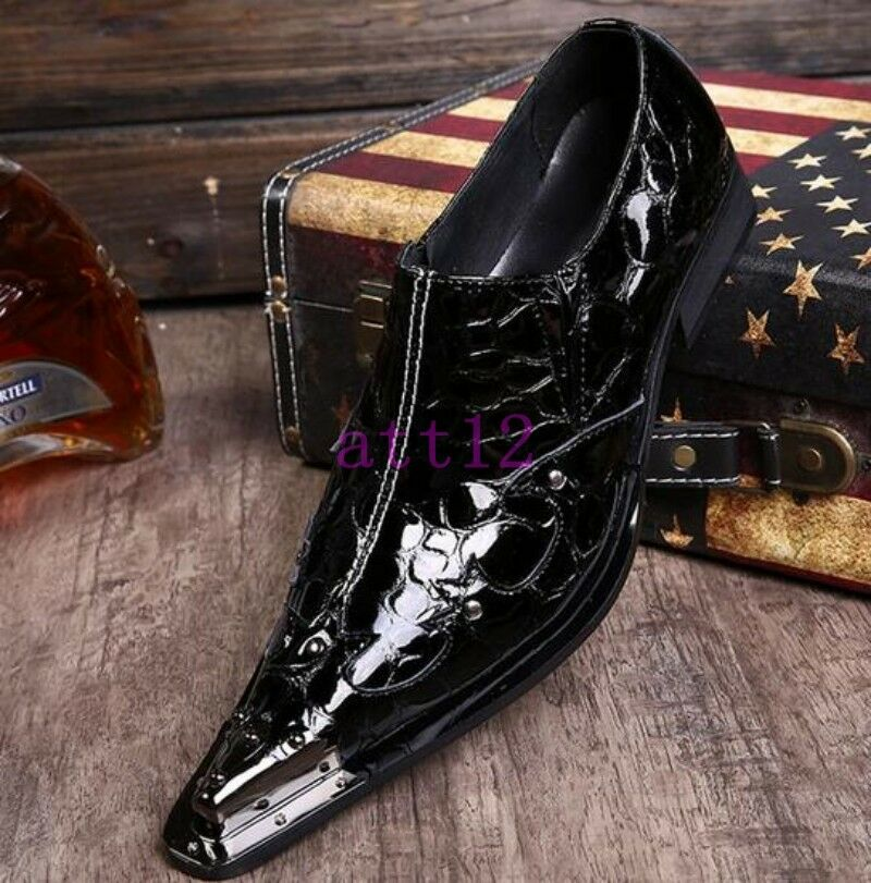 New pointed toe dress formal men's genuine leather business slip on metal shoes