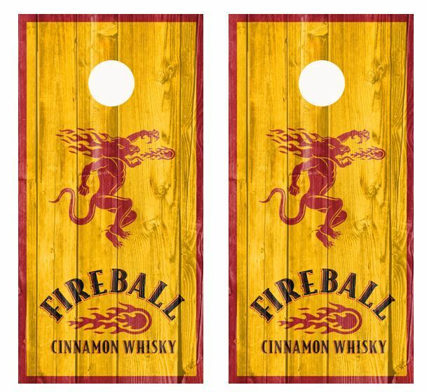 Fireball Cinnamon Whiskey And Dragon Barnwood Cornhole Board Wraps