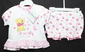 Baby-Girl-039-s-Disney-WINNIE-THE-POOH-T-Shirt-amp-Shorts-Set-Outfit-NWT-0-9-Months