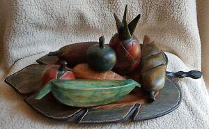 wooden hand carved fruit bowl with fruits /KENYA/