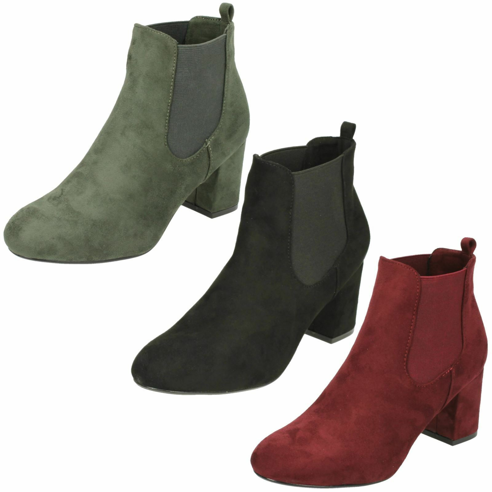 ANNE MICHELLE LADIES PULL ON CHELSEA HEELED ANKLE BOOTS UK SIZES 3-8 F50586