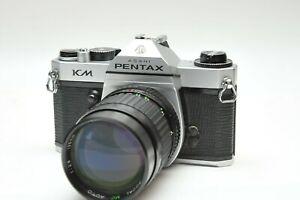 Pentax-Asahi-KM-35mm-SLR-Film-Camera-W-Focal-135mm-F2-portrait-Lens
