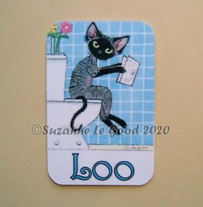 Devon-Rex-Cat-art-painting-Loo-toilet-door-laminated-sign-by-Suzanne-Le-Good