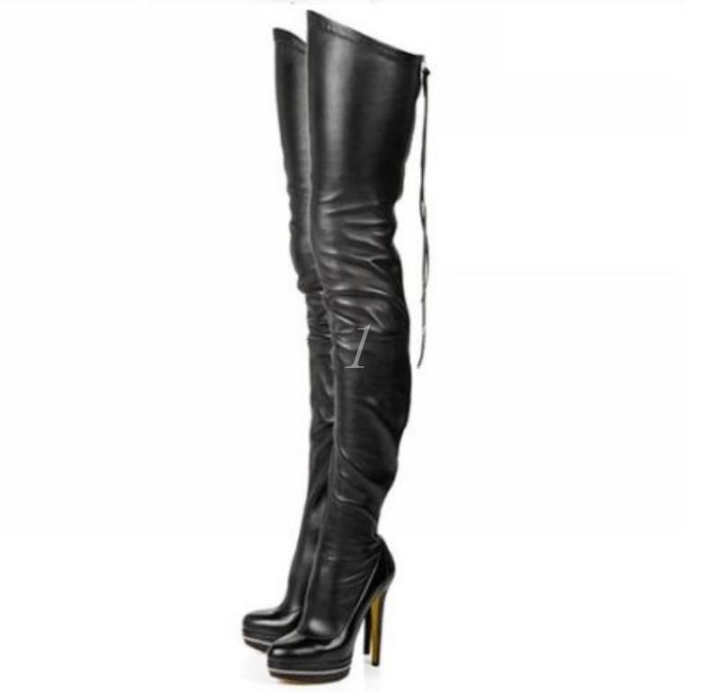Nueva llegada de cuero para mujer sobre la rodilla botas Tacones De Aguja Plataforma Negro Zapatos Talla