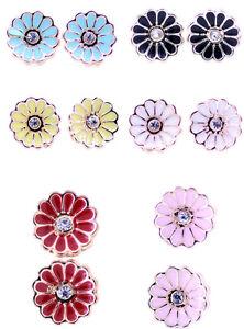 Pretty-0-9cm-enamel-daisy-flower-stud-earrings-50s-60s-retro-multiple-choices