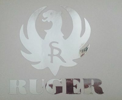 Ruger logo silver chrome die cut gun firearms 4 1 2 decal sticker