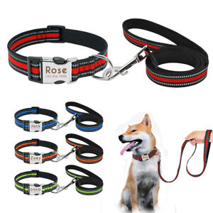 Reflective Pet Dog Nylon Collar&Lead Leash Personalised ID Tags Small Large Dogs