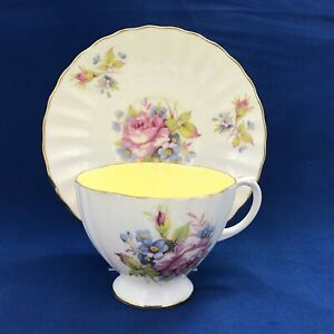EB FOLEY Bone China England Rose & Florals with Pale Yellow Interior Cup Saucer