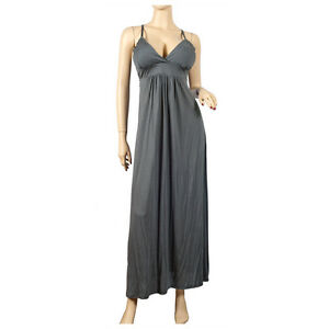 Details about New Women\'s Plus Size Grey Empire Waist Deep Cut Maxi Dress  Sizes 1X 2X USA