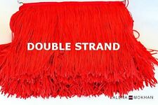 "1yard 8"" DOUBLE STRAND Red Chainette Fringe Dance Costume Lamp Shawl Trim"
