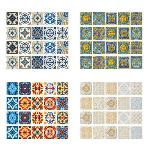 Set 20pcs Removable Square Wall Tile Decal Floor Wall Paper Sticker Room Decor