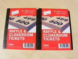 2 booklets of 500 raffle cloakroom tickets new ebay