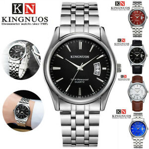 KINGNUOS-Stainless-Steel-Leather-Men-Watch-Sports-Watchband-Quartz-Wrist-Watches