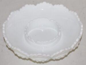 VTG Fenton Hobnail Ashtray Chip & Dip Candle Bowl Milk Glass White Scalloped-EUC