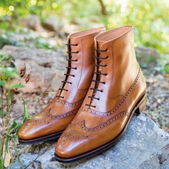 Hecho a mano cuero para hombre Color Bronceado botas al tobillo, hombres Wing Tip Brogue Vestido Botín