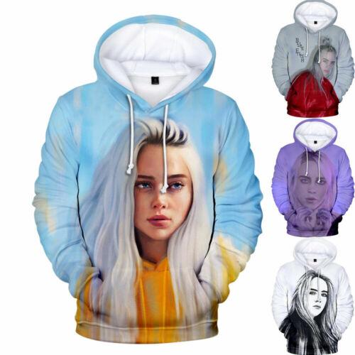 Billie Eilish Hoodie Sweatshirt Cartoon Printed Cotton Pullover Casual Pattern