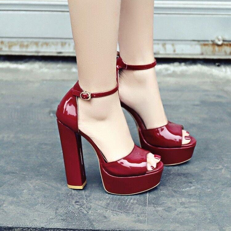 US4.5-11 femmes Bride Cheville Escarpins Bout Ouvert Talons Hauts Plateforme Fête chaussures Taille