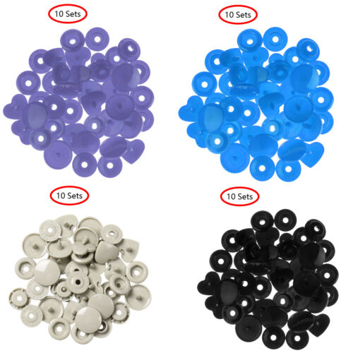 40 Plastic Press Stud Cloth Tool Kit Fastener Snap Button Clip Star//Heart Sewing