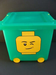 Image Is Loading NEW LEGO Wheeled Storage Green Bin Tub Stacking
