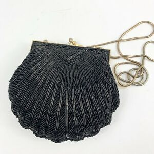 """Black Glass Beaded Purse Bag Evening Clam Shell Seed Bead Gold Chain Vintage 6"""""""