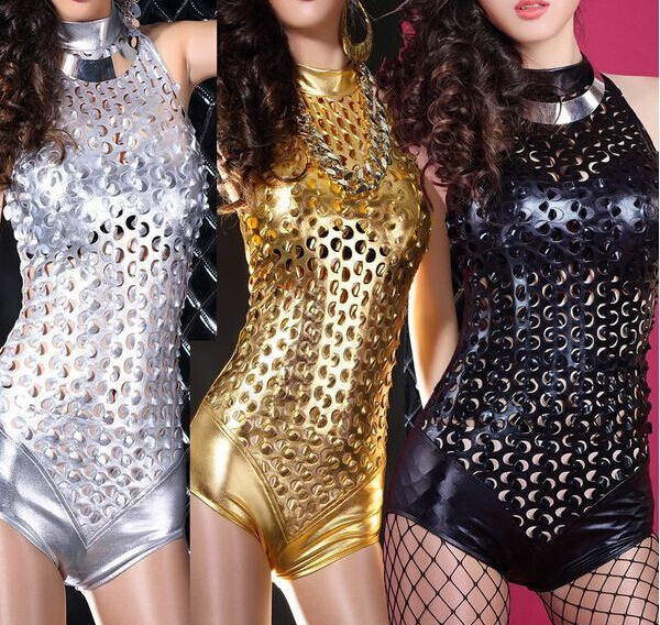 New Womens Club Dance Rompers Catsuit Ladies Cut Out Sexy Jumpsuit Shiny Party