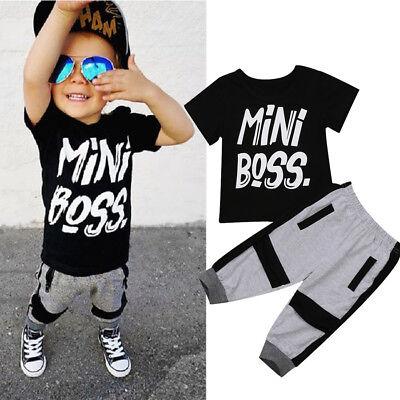 UK Stock Toddler Kids Boys Summer T-shirt Tops Long Pants Outfits Set Clothes