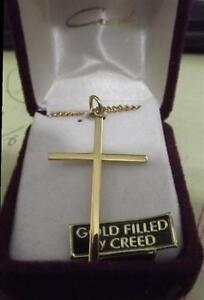 Creed-Lg-Gold-Filled-Cross-Medal-w-Chain-NEW