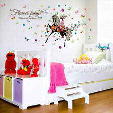 Removable Riding Flower Butterfly Girl Art Wall Sticker Mural Home Decal Decor