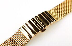 Uhren-Armband-Metallband-18mm-Vergoldet-Stahl-Milanaiseband-13cm-gerader-Anstoss