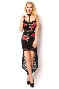 hot sale online bb844 c07cb Dettagli su Vestito nero femminile pizzo fiori elegante originale moda  nuovo uy 15105 DD