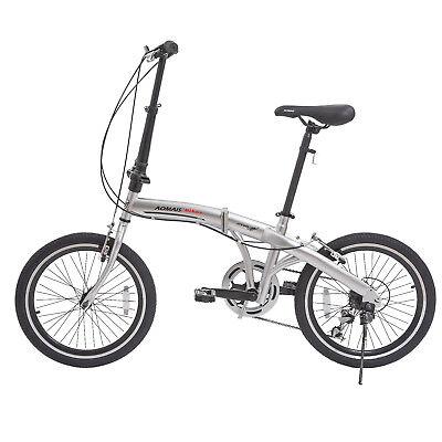 """20"""" Folding Bike Foldable Mountain Bike Shimano 6 Speed Bike School Sport Silver"""