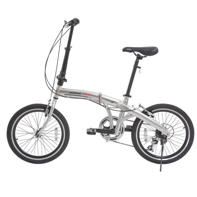 """20"""" Folding Front Suspension Mountain Bike Shimano 6 Speed Sport Bicycles Silver"""