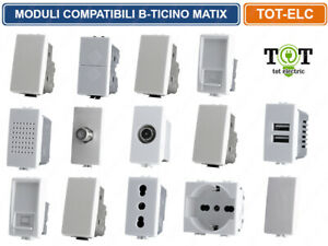 BTICINO LIVING,MATIX COMPATIBILE PRESE,SHUKO,INTERRUTTORI,PULSANTI,ETHERNET,USB