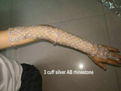 Women Arm Hand Chain Ring Bracelet Crystal Cuff Party Rhinestone Belly Dancers