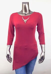 CHICO-039-S-TRAVELERS-NEW-SIZE-1-M-RED-3-4-SLEEVES-ASYMMETRICAL-TUNIC-TOP