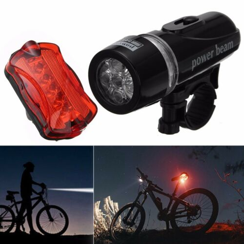 5 LED Flashlight Headlight Rear Taillight Bike Bicycle Warning Safety Lamp Set