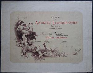 Jules-CHERET-Tres-Grand-DIPLOME-Societe-des-Artistes-Lithographes-Imp-CHAIX