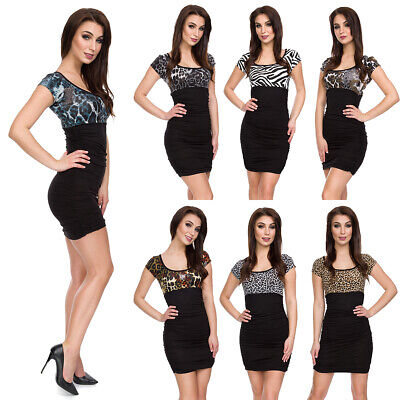Da Donna Bodycon Animal Print Bicolore Abito Stile Impero Elasticizzato Tunica 5016-mostra Il Titolo Originale Completa In Specifiche