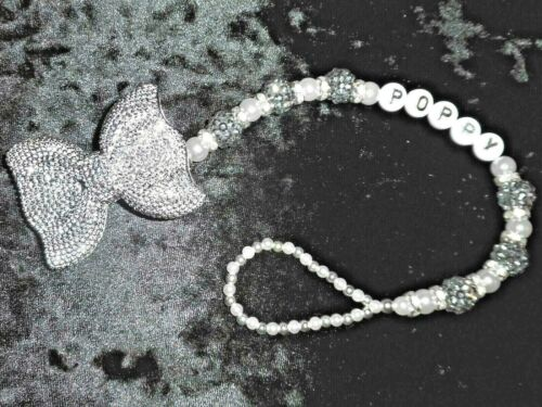 Silver Shamballa White Diamante Bow Personalised Crystal Bling Baby dummy clip