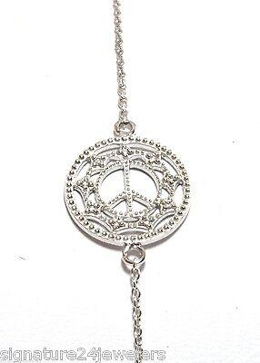 ZASHA BY JUDE FRANCES 14K White Gold Small Chain Link Diamond Peace Bracelet