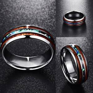 8mm-Hawaiian-Koa-Wood-and-Abalone-Shell-Tungsten-Carbide-Rings-for-Men-Jewelry
