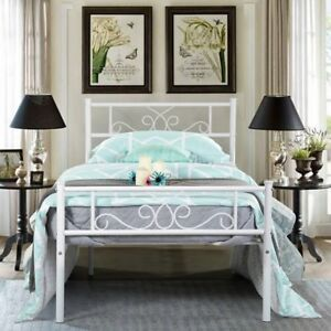 Twin Size Metal Bed Frame Mattress Foundation With Headboard And Footboard White 6971192217870