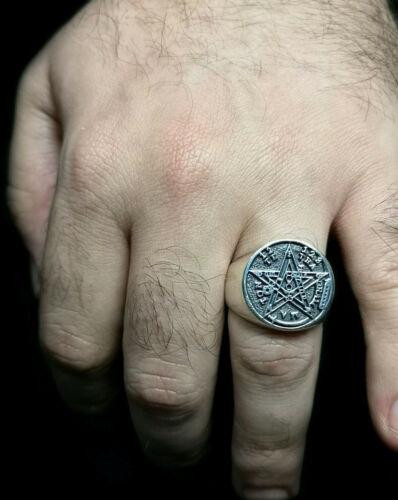 Plata 1ª Ley .925 Nuevo. Impresionante Anillo Sello Tetragrammaton